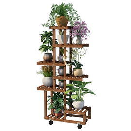 Wooden Flower Ladder Display Rack with Wheels Outdoor Free Standing Plant Stand Indoor Multifunction Storage Shelf