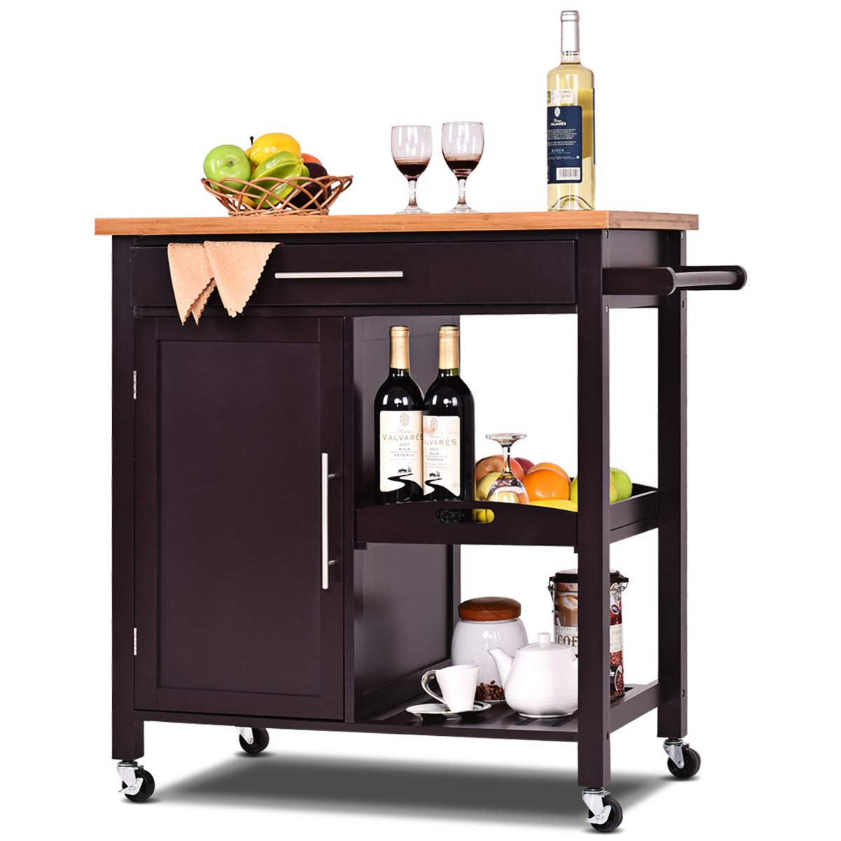 Kitchen Home Wood Rolling Island Cart With Bamboo Top Storage Cabinet
