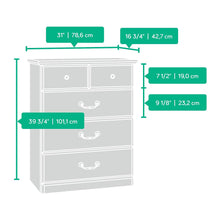 "4-Drawer Chest, L: 30.95"" x W: 16.81"" x H: 39.80"", Carolina Oak finish"