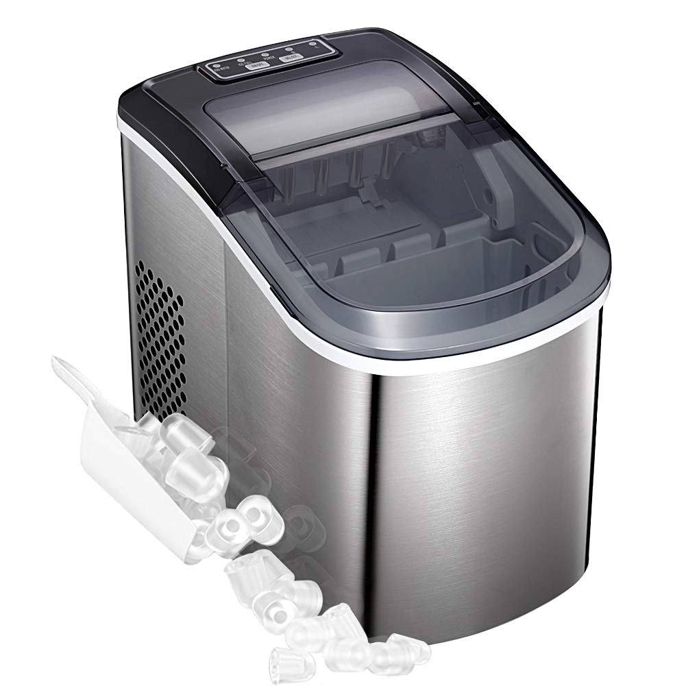 Portable Automatic Stainless Steel Ice Maker Machine for Countertop, 9 Ice Cubes Ready in 6-8 Minutes,with See-through Lid and LED Lights (Classic)