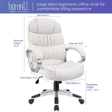 Office Chair High Back, PU Leather Adjustable Chair Ergonomic Boss Executive Management Swivel Task Chair with Padded Armrests (White)