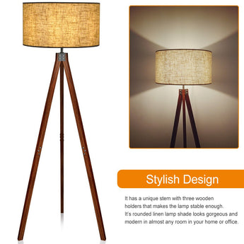 Wood Tripod Floor Lamp, Flaxen Lamp Shade with E26 Lamp Base, Modern Design Reading Light for Living Room, Bedroom, Study Room and Office