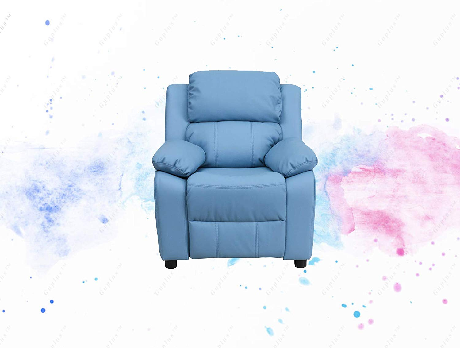Light Blue Vinyl Kids Recliner with Storage Arms Child Sized Recliner Plush Padding for Extra Comfort Additional Headrest