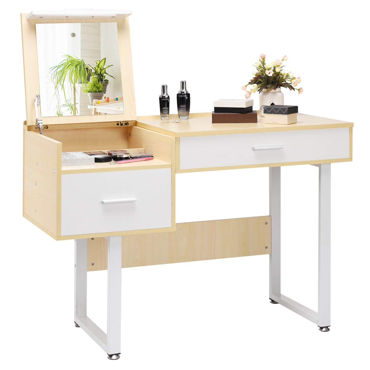 Vanity Table with Flip Top Mirror, 40 Organizer Large Storage for Tall