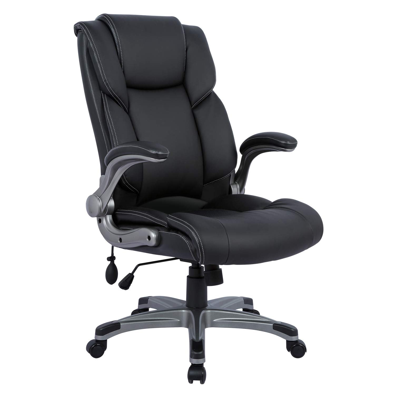 High Back Office Chair, Ergonomic Computer Desk Executive ,Adjustable Built in Lumbar Support, Tilt Angle and Flip-Up Arms, 360 Degree Rotation