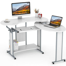 L-Shaped Computer Desk,  Rotating Corner Desk & Modern Office Study Workstation, for Home Office or Living Room (White)