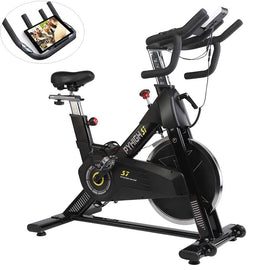 Indoor Cycling Bike-48lbs Flywheel Belt Drive Stationary Bicycle Exercise Bikes with LCD Monitor for Home Cardio Workout Bike Training- Black (Black)
