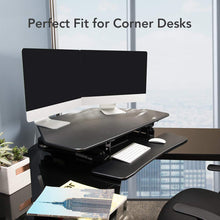 "Standing Desk - 41"" Cubicles Corner Desk Riser Computer Riser Fit Dual Monitor with Removable Keyboard Tray (M4B-Corner-Black)"