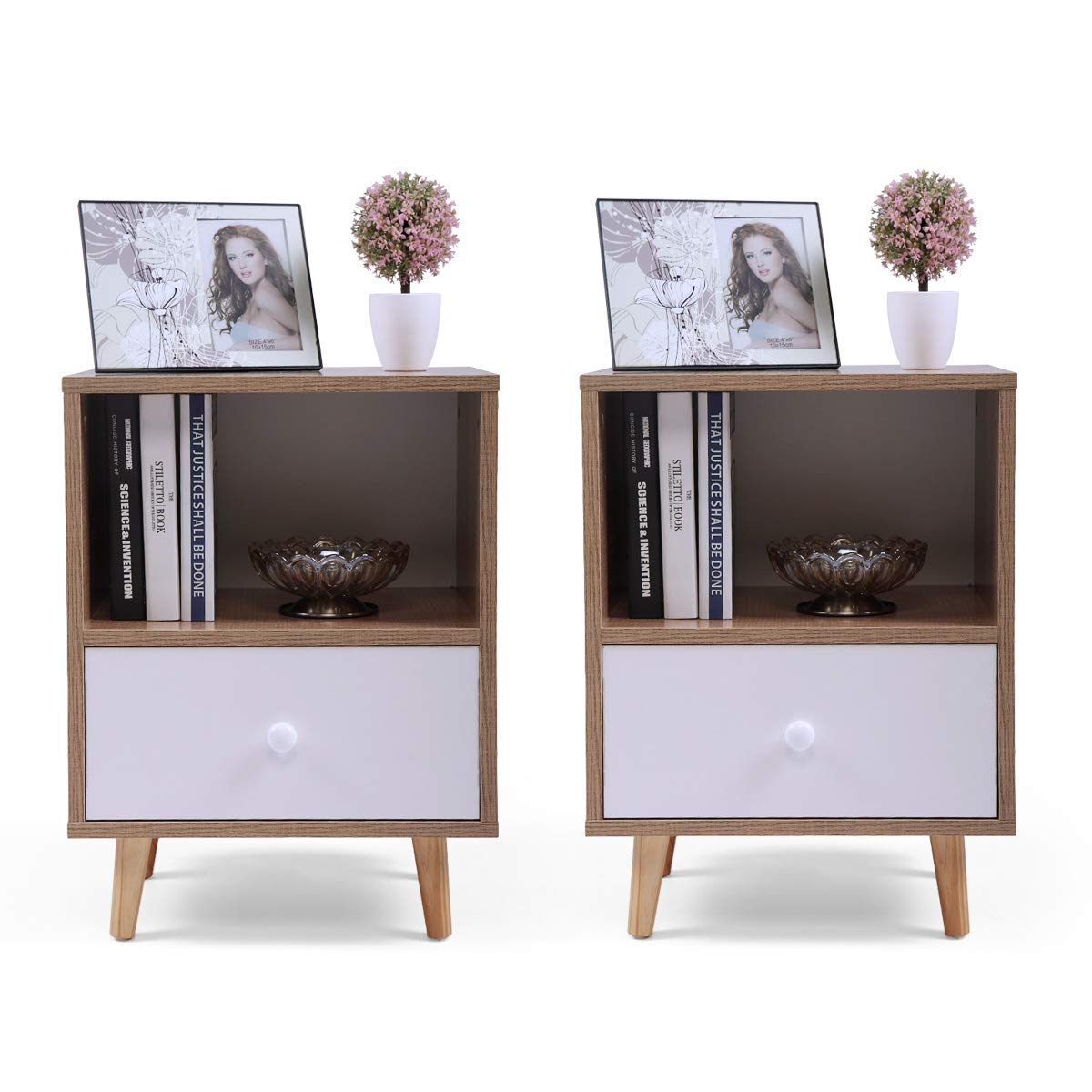 Set of 2 Night Stand 2 Layer w/Drawer Bedside End Table Organizer Bedroom