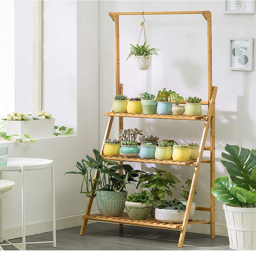 Folding 3-Tier Hanging Plant Stand Bamboo Planter Shelves Flower Pot Organizer Storage Rack Display Shelving Plants Shelf Unit Holder