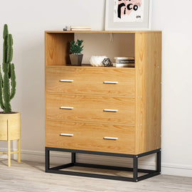 3-Drawer Chest,  Drawer Dresser with Open Storage, Works as File Cabinet, Office Cabinet for Bedroom or Office (Oak)
