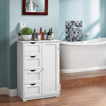Bathroom Floor Cabinet Wooden with 1 Door & 4 Drawer, Free Standing Wooden Entryway Cupboard Spacesaver Cabinet, White