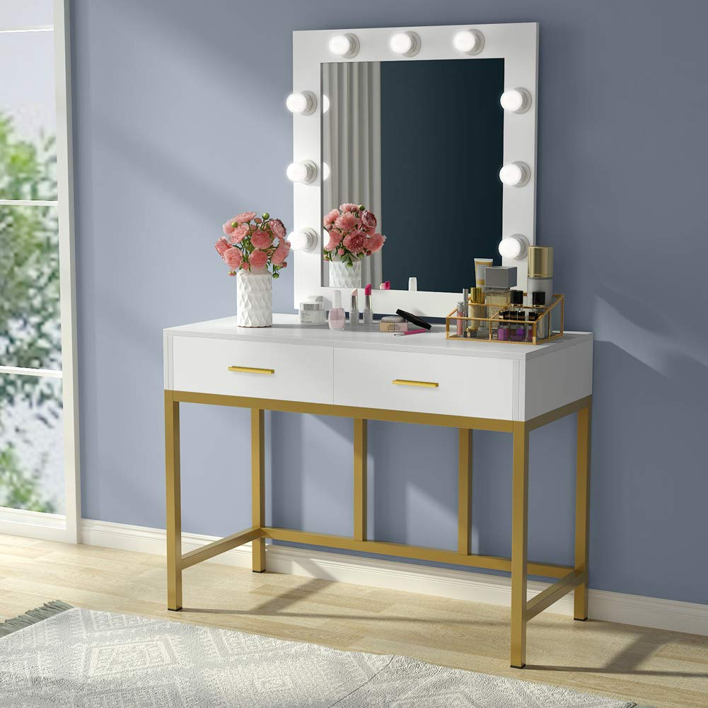 Vanity Table With Lighted Mirror With 9 Lights And 2 Drawers For Wome