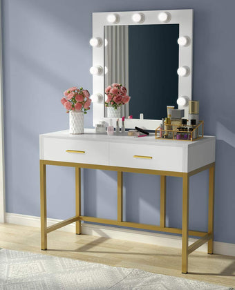 Vanity Table with Lighted Mirror, with 9 Lights and 2 Drawers for Women, Dresser Desk Vanity Set for Bedroom