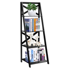 4-Tier Ladder Shelf Bookcase Leaning Home Office Free Standing Wooden Frame Decor Bookshelf Storage Flower Shelf Display Shelf