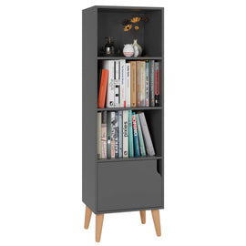 4 Tier Floor Cabinet, Free Standing Wooden Display Bookshelf with 4 Legs and 1 Door, Side Corner Storage Cabinet Decor Furniture for Home Office, Gray