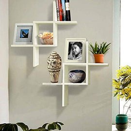 Solution Set of 2 Reversed Criss Cross Wall Shelf (White)