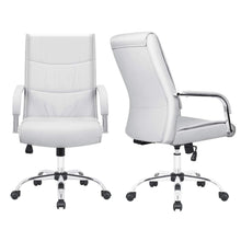 Furmax High Back Office Desk Chair Conference Leather Executive with Padded Armrests,Adjustable Ergonomic Swivel Task Chair with Lumbar Support(White)
