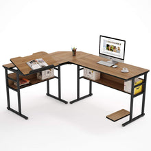 L-Shaped Desk with Bookshelf, 67 inch Double Corner Computer Office Desk Workstation Drafting Drawing Table with Tiltable Tabletop (Oak)