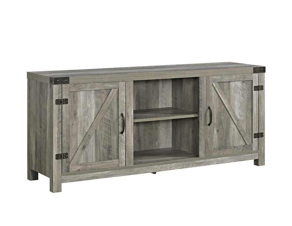 Furniture White Oak Barn Door TV Stand 58