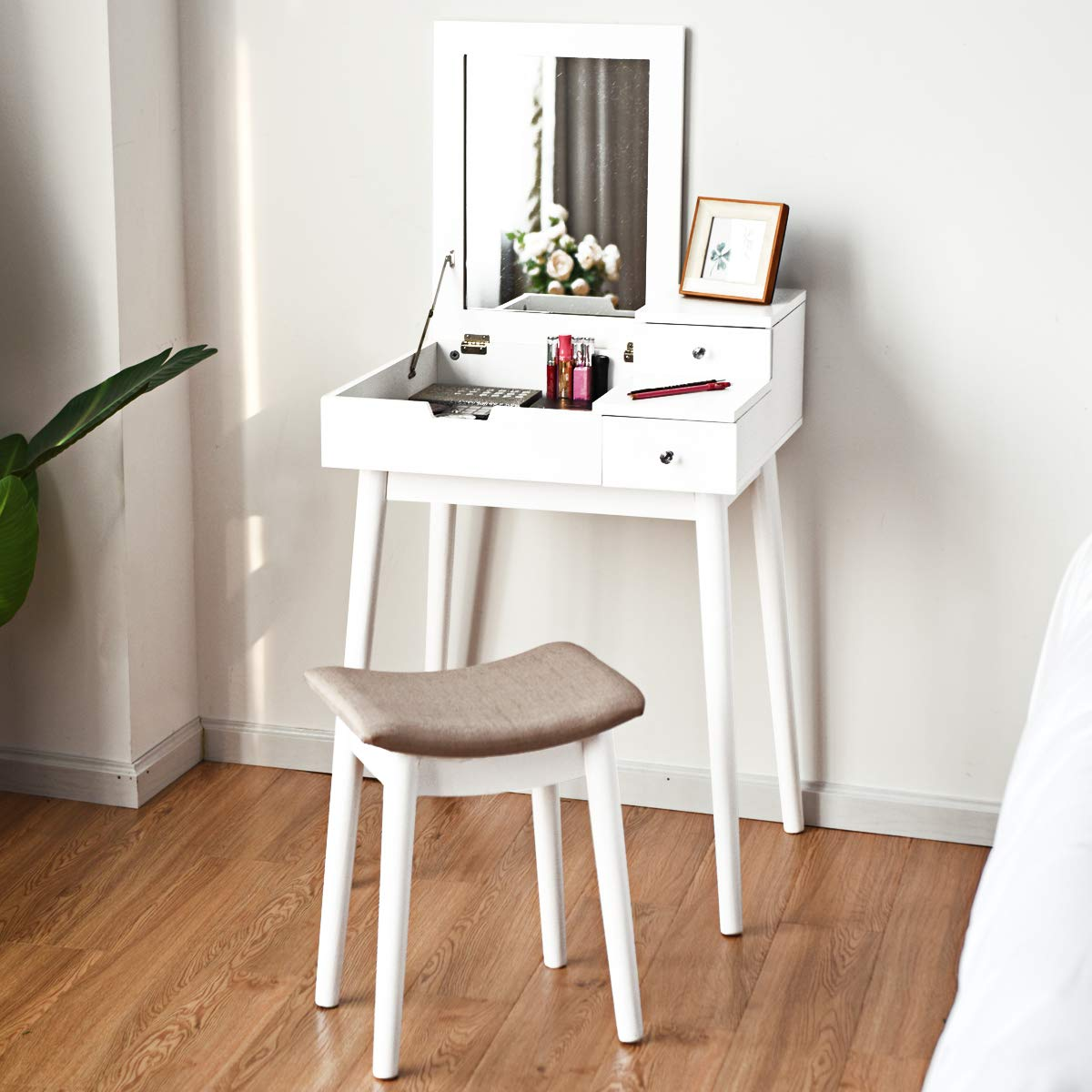 Table Set with Mirror Stool, Folding Top Flip Mirrored Large Storage Organizer, Makeup Dressing Table Sets with/ 2 Drawers,White