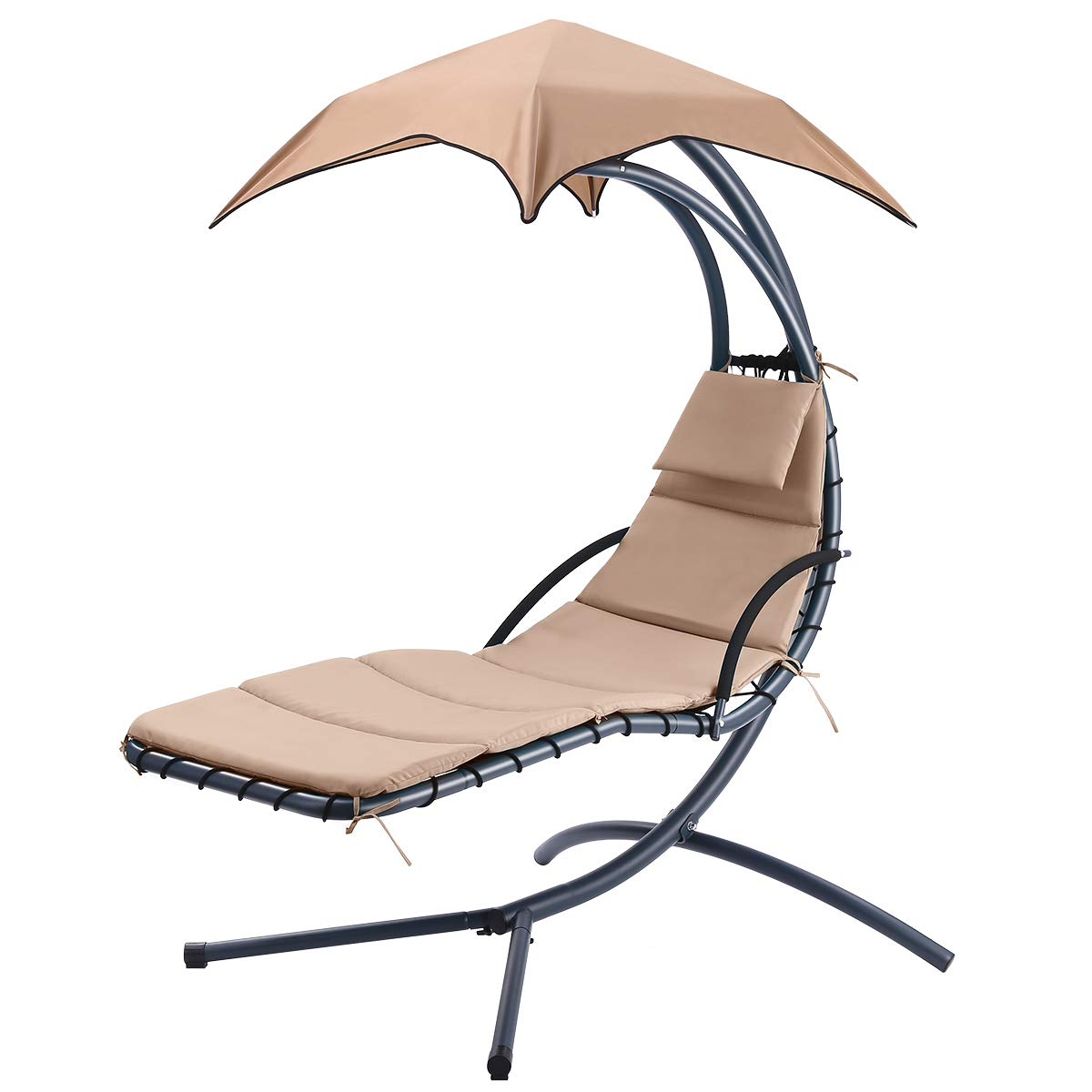 Hammock Chair Patio Swing Lawn Chair With Canopy Arc Stand