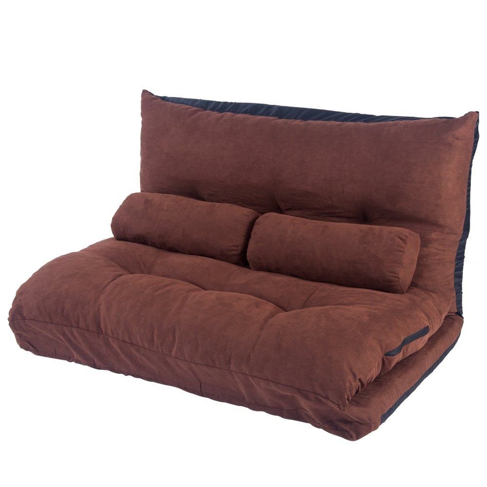 Floor Sofa Bed, Adjustable Foldable Sofa Bed Modern Leisure Video Gaming Sofa with Two Pillows (Brown)