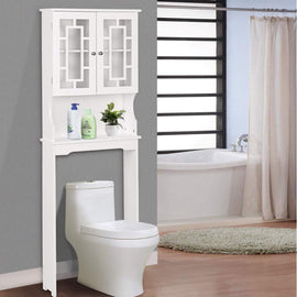 Wooden Over The Toilet Cabinet Storage, Bathroom Organizer Over Toilet Storage, Above The Toilet Space Saver Cabinet (22.6