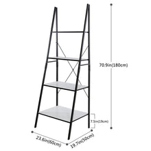 Ladder Shelf 4 Tiers Book Shelf Bookcase Display Shelf, Plant Flower Stand, Wood Storage Rack for Home/Office/Garden/Living Room, Metal Frame.