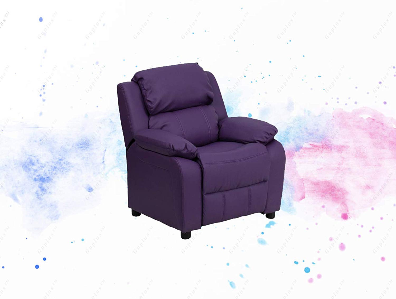 Purple Vinyl Kids Recliner with Storage Arms Child Sized Recliner Plush Padding for Extra Comfort Additional Headrest Cover