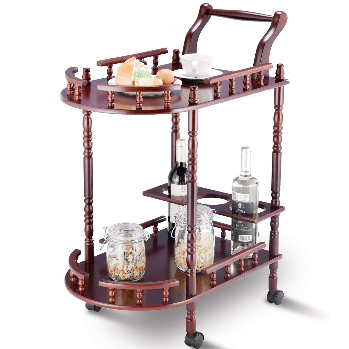 Serving Cart Kitchen Trolley Island Cart Solid Wood Home Commercial 2-Tier Rolling Island Cart w/Wheels Handle Bottle Holder Guard Rails Cherry