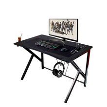 "K-Shaped Gaming Desk 45.7"" Black Carbonized Pattern Gaming Table Home Computer Desk with USB Charging Port,Cup Holder and Headphone Hook"