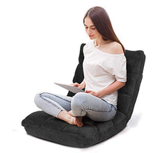 Floor Folding Gaming Sofa Chair Lounger Folding Adjustable 14-Position Sleeper Bed Couch Recliner (Gray)