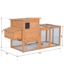 "75"" Wooden Hen House Backyard Chicken Coop with Outdoor Run and Nesting Box"