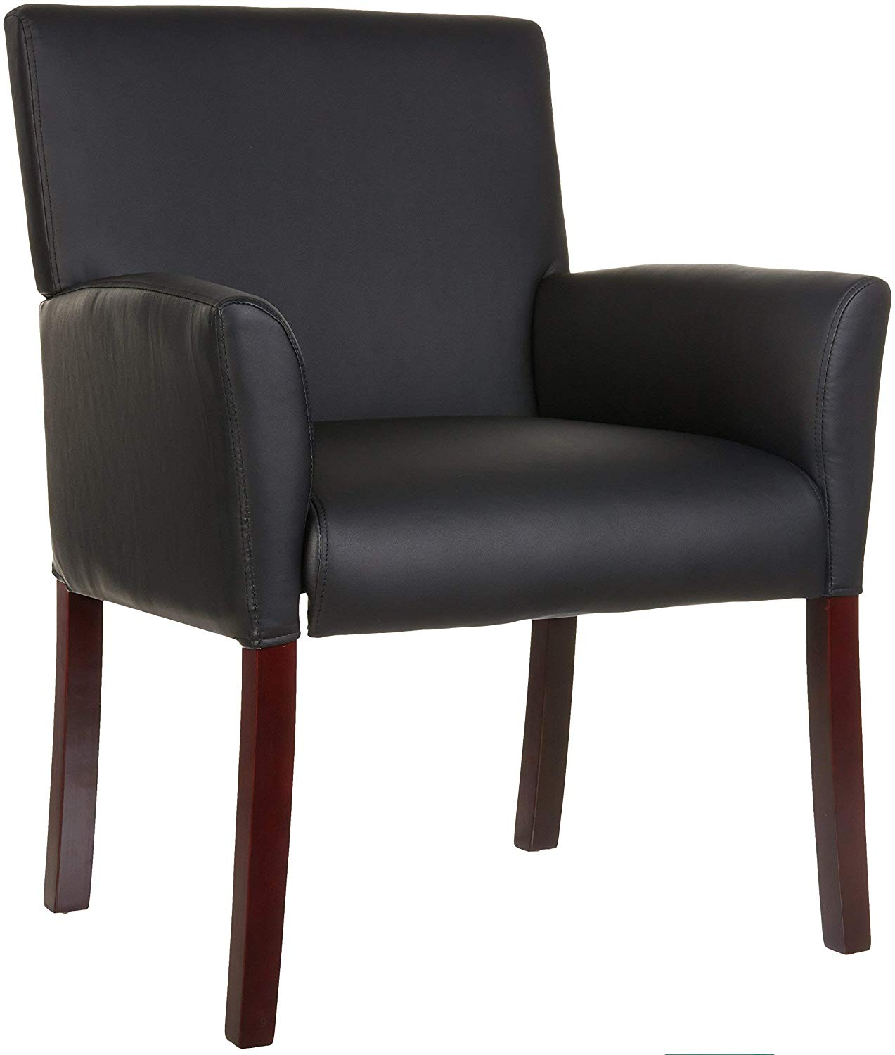 Classic Reception Office Chair with Mahogany Wood Finish Legs - Black
