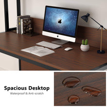 55 Inches Large Computer Desk with Hutch, Modern Writing Desk with Bookshelf, PC Laptop Study Table Workstation for Home, Cherry Brown + Black Legs