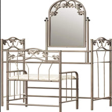 Makeup Vanity Set with Mirror&Cushioned Stool Dressing Table Set ,2 Shelves,Dressing Table Leaf Pattern Bedroom Women Girls