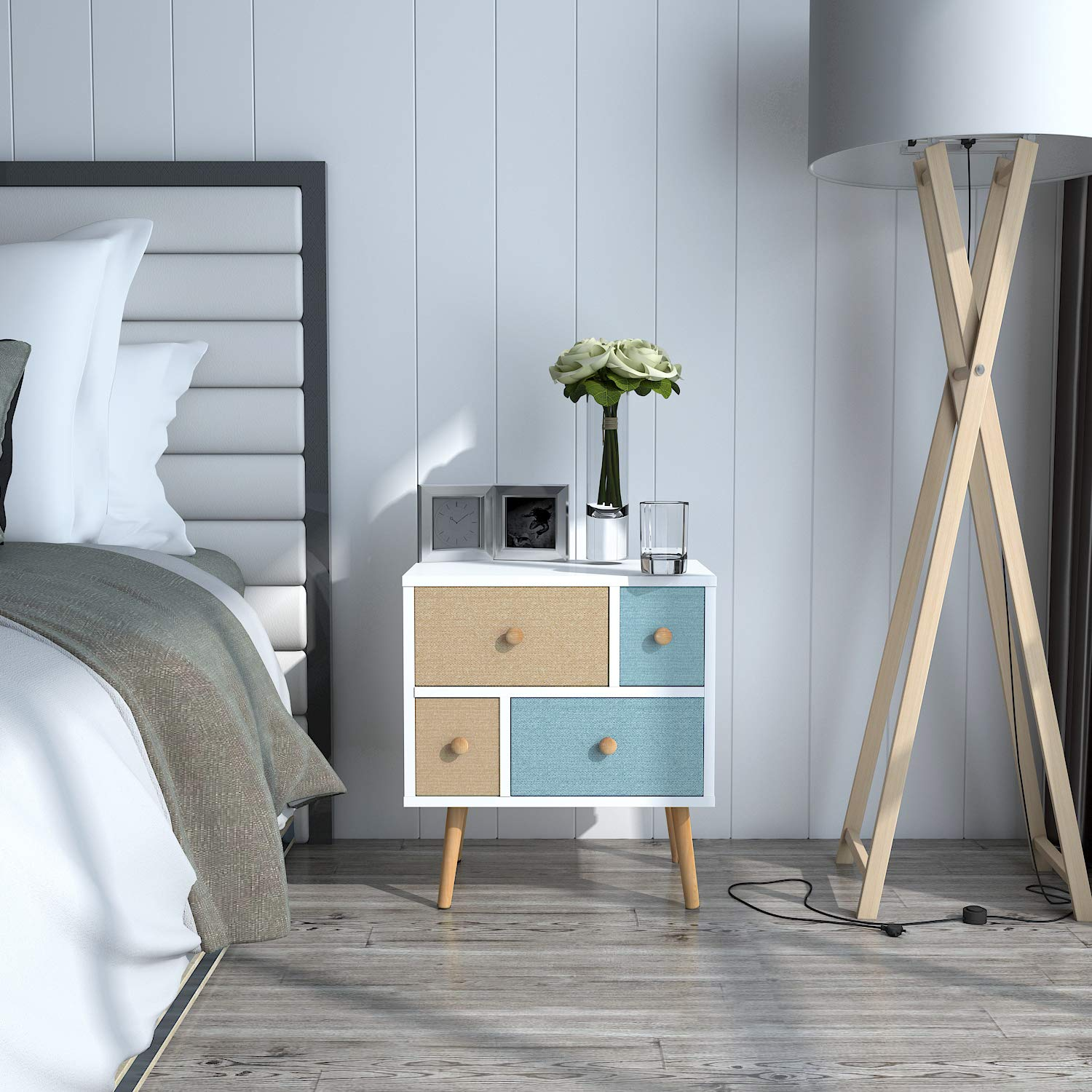 Nightstand with 4 Fabric Drawers, Bedroom Side Table Bedside Table, Easy to Assemble, Sturdy and Durable, Small and Cute, White, 18.9 x 11.8 x 21.7 in