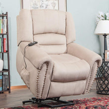 Heavy Duty Power Lift Recliner Sofa Chair Extra Large Living Room Chair Fabric with Remote Control (Beige)