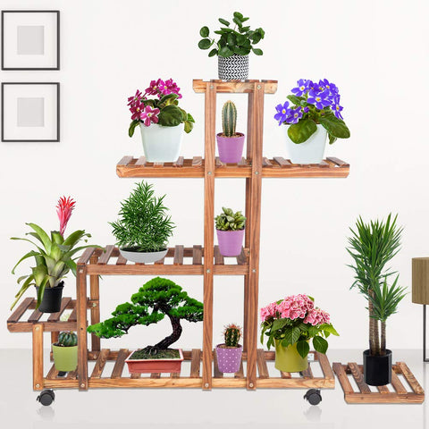 Plant Stand Flower Pots Holder Pine Wooden Rack Mobile Storage Organizer For Indoor Outdoor, 5 Tier Unit ,1 Detachable Bonsai Display Shelf