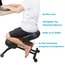 Camande Ergonomic Kneeling Chair, Adjustable Stool for Home and Office - Improve Your Posture with an Angled Seat - Thick Comfortable Cushions