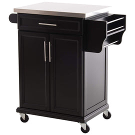 Wood Stainless Steel Multi- Storage Rolling Kitchen Island Utility Cart with Wheels - Black