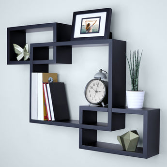 Wooden Interweave Floating Wall Mounted Shelves, Horizontal and Vertical Display Storage Shelf for Bathroom( 26