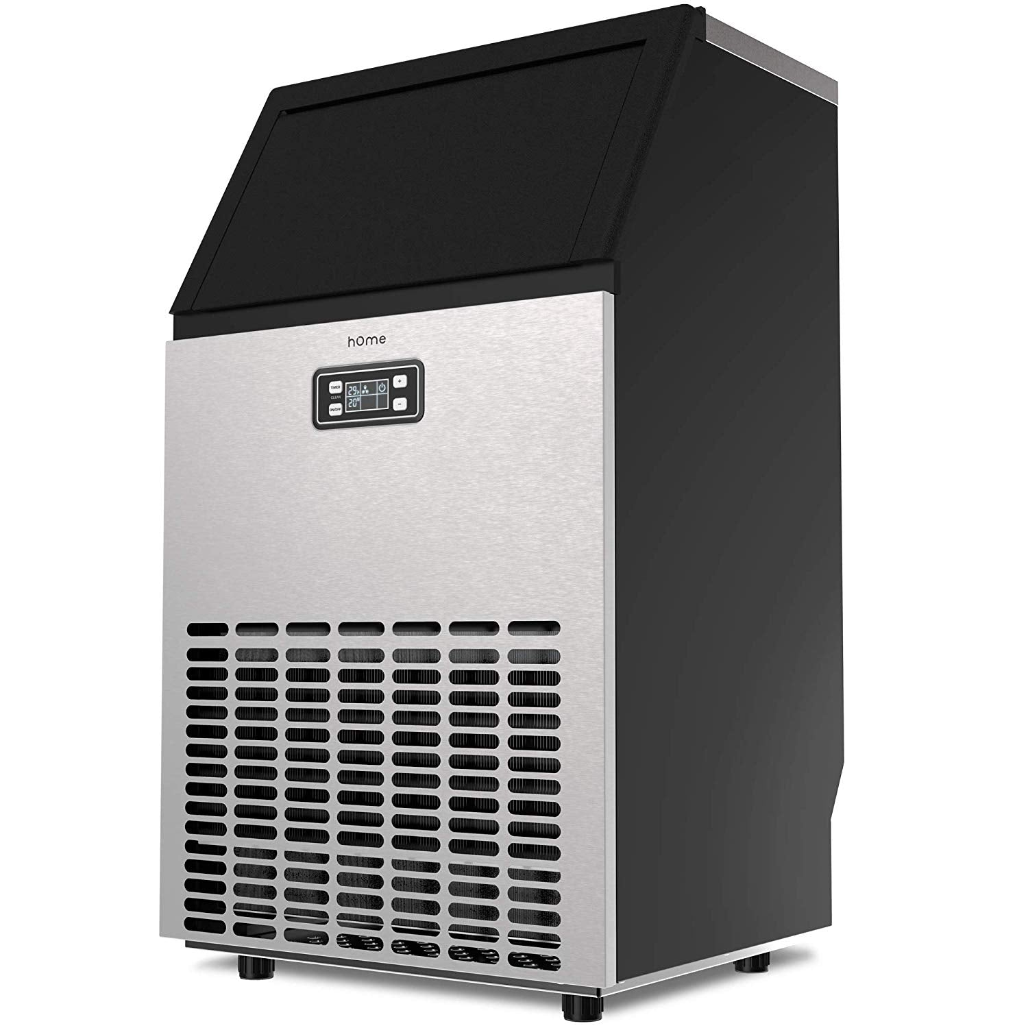 Freestanding Commercial Ice Maker Machine - 99 lbs Ice in 24 hrs with 29 lb Storage Capacity, for Restaurants, Includes Scoop and Connection Hoses