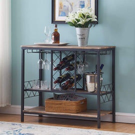 Industrial Wine Rack Table with Glass Holder, Wine Bar Cabinet with Storage, Brown