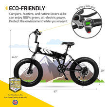 Electric Bike Foldable Off-Road Fat  20-inch Wheels with Power Assist,  7-Speed Gear Shifts, Black, Large
