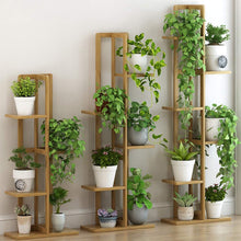 Multi-Layer Upright Flower Stand Bamboo Simple Floor-Standing Plant Stand Indoor Storage Rack