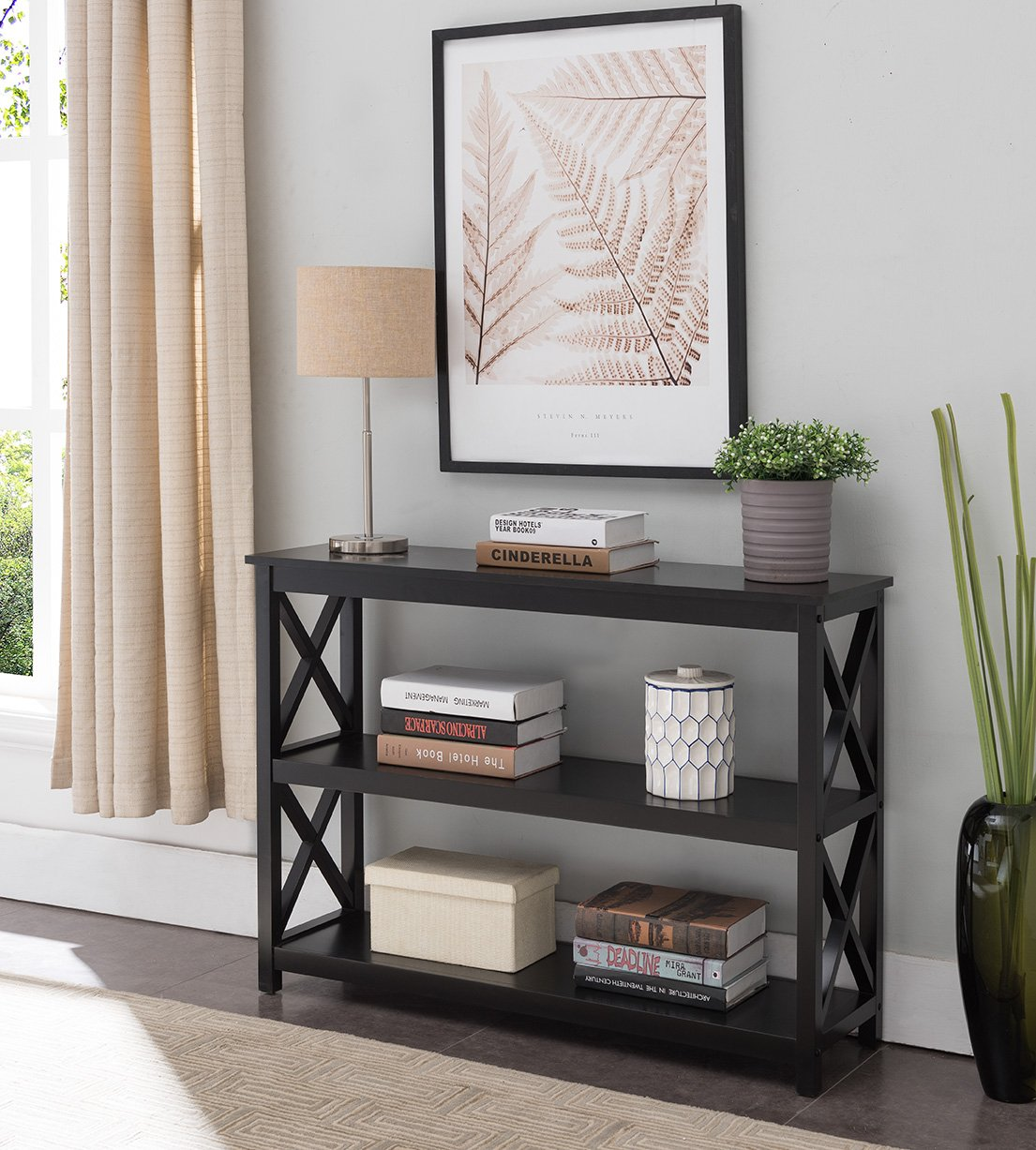 3-Tier X-Design Console Entryway Sofa Table with Shelves, Black