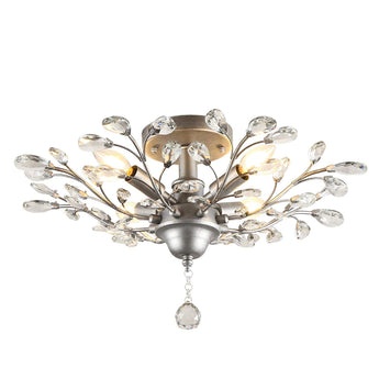 Vintage Large Crystal Branches Chandeliers Black Ceiling Light Flush Mounted Fixture with 5 Light 200W Sliver Grey for Bedroom,Entryway,Living Room