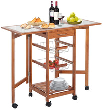 "37"" Modern Wooden Drop Leaf Kitchen Island Rolling Cart With Basket Storage"